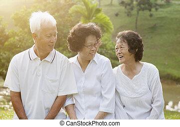 seniors, парк, группа, азиатский