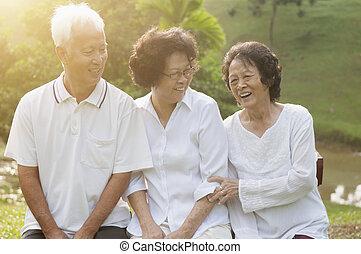 seniors, парк, на открытом воздухе, группа, азиатский