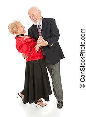 seniors, -, abbassarsi, ballo