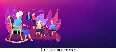 seniors, actividades, concepto, bandera, encabezamiento