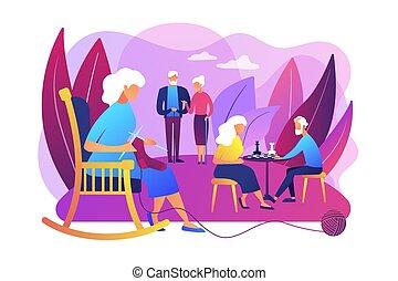 seniors, actividades, concepto, vector, ilustración
