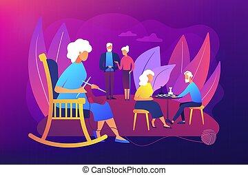 seniors, actividades, vector, ilustración, concepto