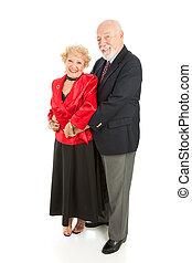 seniors, amoroso, bailando