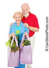 Seniors and Reusable Shopping Bags