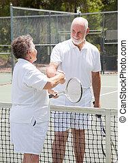 seniors, apretón de manos, tenis, -