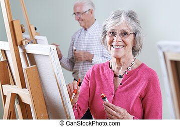 seniors, assistere, pittura, classe, insieme