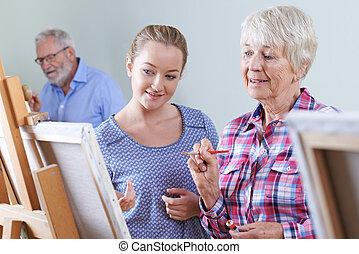 seniors, assistere, pittura, insegnante, classe