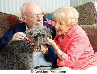 Seniors at Home with Their Dog - Senior couple at home on...