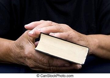 senior\'s, bijbel, oud, handen