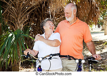 Seniors Biking Together