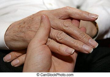 senior\'s, caregiver, segurar passa