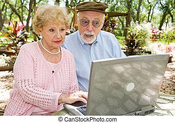 seniors, computadora, -, choque