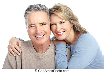 Seniors couple in love. Isolated over white background