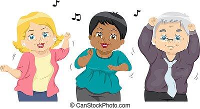Seniors Dance - Illustration of a Group of Senior Citizens...