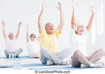 seniors, deriving, clases, placer, condición física