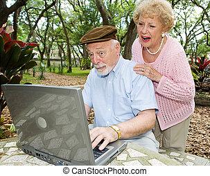 seniors, divertido, computadora, -, e-mail