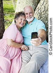 seniors, e-post, självporträtt