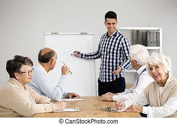 seniors, előadás, tutor's, kihallgatás