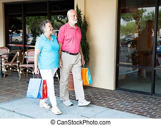 seniors, en, centro comercial