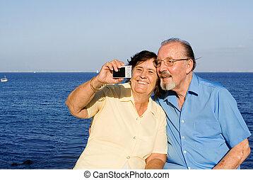 seniors, fénykép, bevétel, boldog