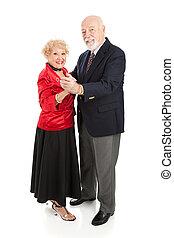 seniors, feliz, bailando