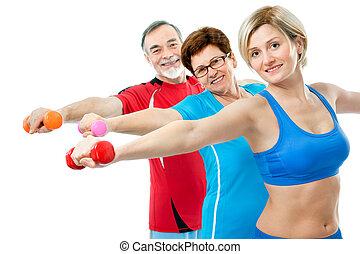 seniors, gör, fitness, träningen