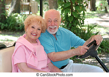 seniors, golf, -, carrito, feliz