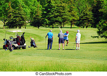Seniors golfing - Active senior men on golf course