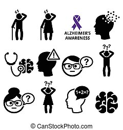 Health and medical concept - Alzheimer's disease awareness vector icons set isolated on white