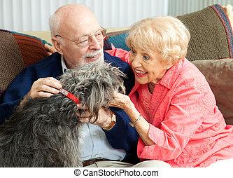 seniors, hjem hos, hos, deres, hund