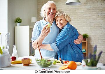 Seniors in embrace