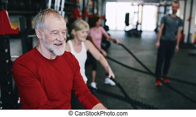 Seniors in gym with personal trainer exercising with battle...