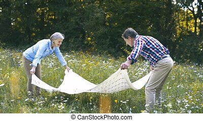 Seniors in nature spreading blanket for picnic. - Beautiful...