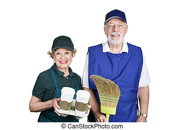 Seniors in Work Force - A senior couple going back to work...