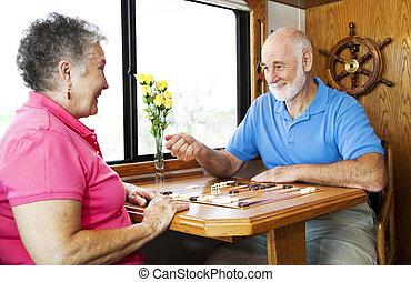 seniors, játék, backgammon