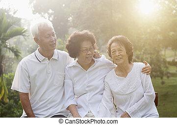 seniors, liget, csoport, ázsiai, természet