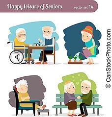 seniors, lycklig, fritid