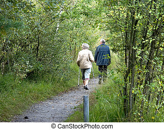 Middle aged people, seniors, man and woman talking a walk in the forest, sunny autumn day.