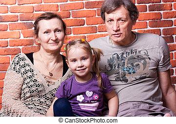 seniors, párosít, grandchildr, boldog