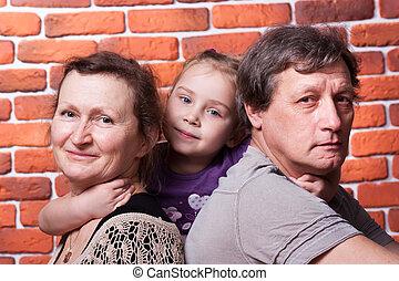seniors, párosít, unoka, boldog