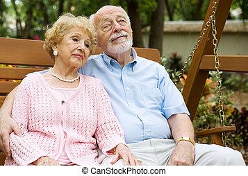 seniors, par, avkopplande