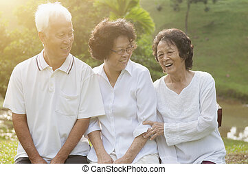 seniors, parco, esterno, gruppo, asiatico