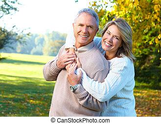 seniors, pareja, anciano