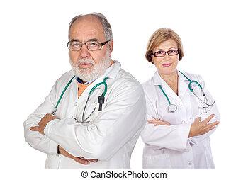 seniors, pareja, doctors