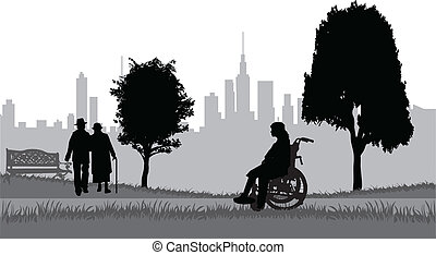 seniors, parque, caminata
