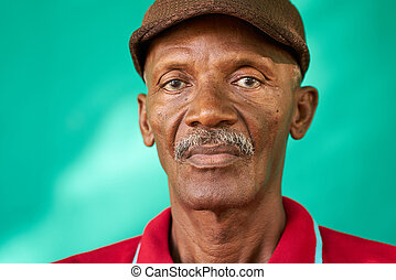 Seniors People Portrait Sad Old Black Man With Hat - Real...