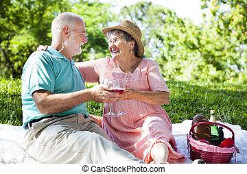 seniors, picnic, romántico