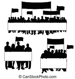 seniors protest icon silhouette illustration