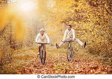 seniors, ridding, aktivál, bicikli, móka, birtoklás