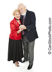 seniors, romántico, bailando